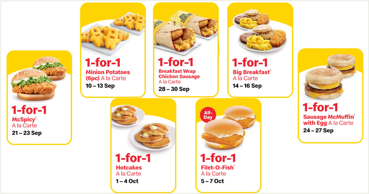 Featured image for McDonald's will be offering 1-for-1 deals and more from 10 Sep - 7 Oct 2020