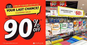 Popular Bookstore up to 90% off closing sale at Jubilee Square from 25 Sep – 18 Oct 2020