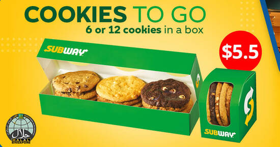 Featured image for Subway: S$5.50 for 6 Cookies-To-Go deal valid at participating outlets from 3 September 2020