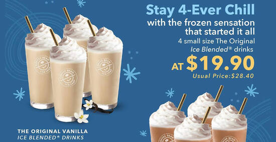 Featured image for Coffee Bean & Tea Leaf: Grab 4 selected small Ice Blended drinks at $19.90 for delivery orders from 29 Sep 2020