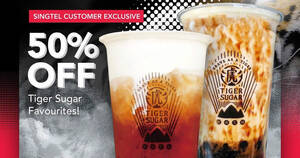 Tiger Sugar: Enjoy 50% OFF Tiger Sugar Favourites for Singtel customers till 1 October 2020