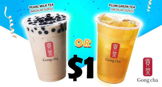 Featured image for $1 Gong Cha Pearl Milk Tea or Plum Green Tea (Medium-sized) for SAFRA members till 30 Nov 2020