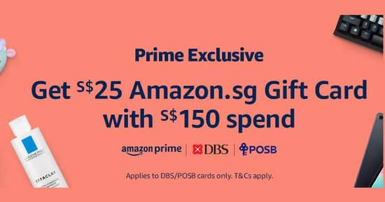 Amazon SG: Get a SS$25 Amazon.sg e-Gift Card on a min spend of S$150 with DBS/POSB cards on 14 Oct 2020 - 1