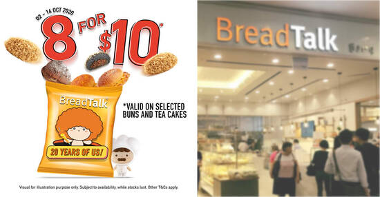 Featured image for BreadTalk: $10 for eight buns & tea cakes at most outlets from now till 14 October 2020