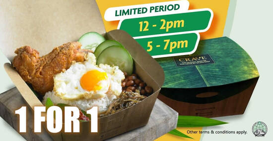 Featured image for CRAVE is offering 1-for-1 Nasi Lemak with Chicken Wing deal till 14 October 2020