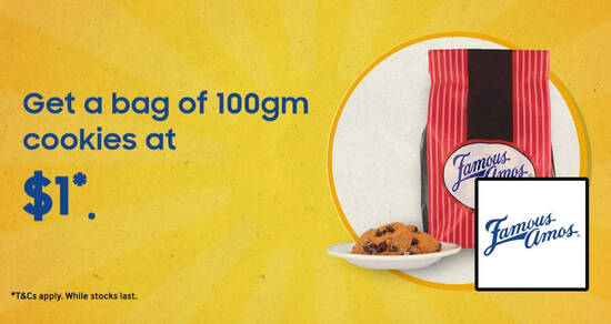 Featured image for Famous Amos: $1 (U.P $4.50) 100g cookies for Samsung Members till 10 December 2020