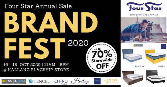 Featured image for Four Star Mattress BrandFest 2020 Sale Has Premium Label Mattresses at up to 70% discount (16 - 18 Oct 2020)