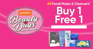 Guardian: Buy-1-Get-1-FREE ALL facial masks and cleansers from 29 Oct – 1 Nov 2020