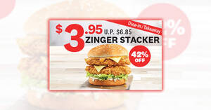 KFC: $3.95 Zinger Stacker (42% off) for dine-in/takeaway orders till 31 October 2020