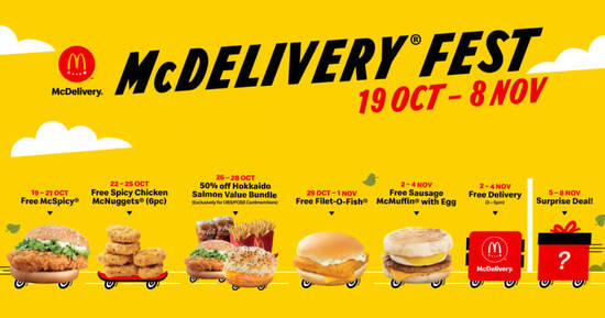 Featured image for McDelivery® Fest to offer Free McSpicy®, Filet-O-Fish® and more with any purchase (19 Oct - 8 Nov 2020)
