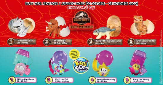 Featured image for McDonald's latest Happy Meal toys features Jurassic World / Pikmi Pops till 25 November 2020