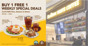 OLDTOWN White Coffee: 1-for-1 Special BBQ Chicken Rice, Longan Drink and more till 1 Nov 2020