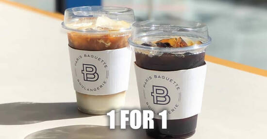 Featured image for Paris Baguette: Enjoy 1-for-1 on all coffee-based drink at four outlets till 4 October 2020