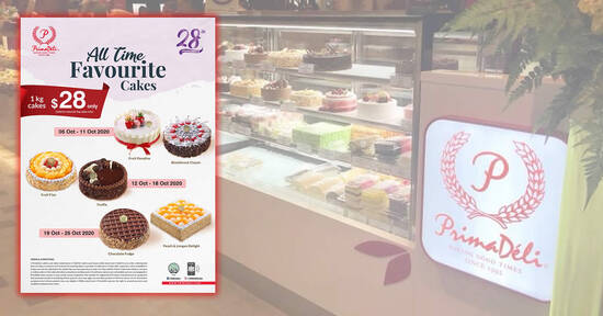 Featured image for PrimaDeli is offering 1kg cakes at just $28 each (U.P. $43.80) till 25 October 2020