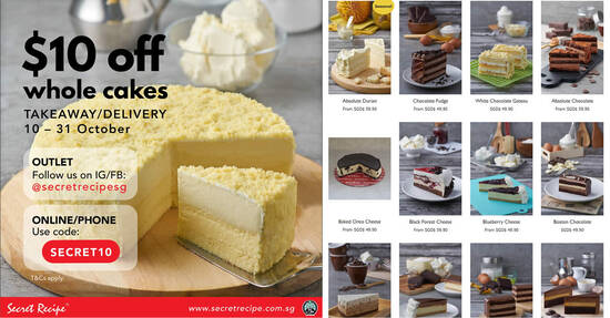 Featured image for Secret Recipe: Get $10 off whole cakes valid for deliveries and takeaways till 31 October 2020