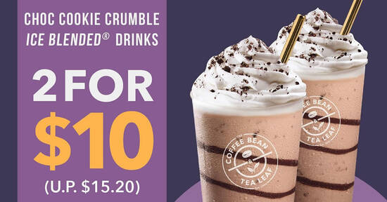 Featured image for The Coffee Bean & Tea Leaf: $10 (usual: $15.20) for two Choc Cookie Crumble Ice Blended drinks till 29 Oct 2020
