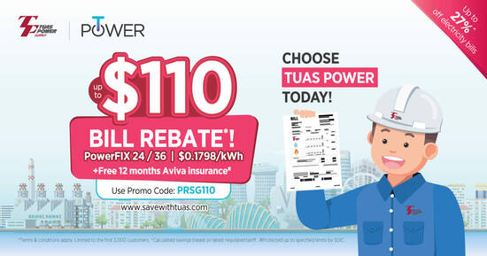Featured image for Online Exclusive! Sign Up Tuas Power Electricity Plan & Enjoy Up to $110 Bill Rebate* off your SP utilities bills