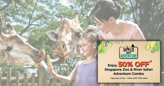 Featured image for Enjoy 50% OFF Singapore Zoo & River Safari Adventure Combo for visits from 21 Nov - 18 Dec 2020