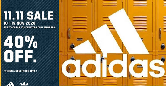 Featured image for Adidas: 40% off sitewide 11.11 Singles Day promo till 15 Nov 2020