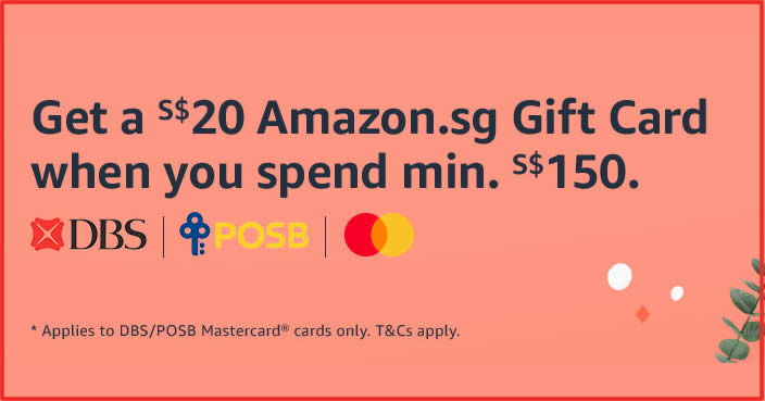 Featured image for Get a S$20 Amazon.sg Gift Card when you spend S$150 or more using your DBS/POSB cards till 5 Dec 2020