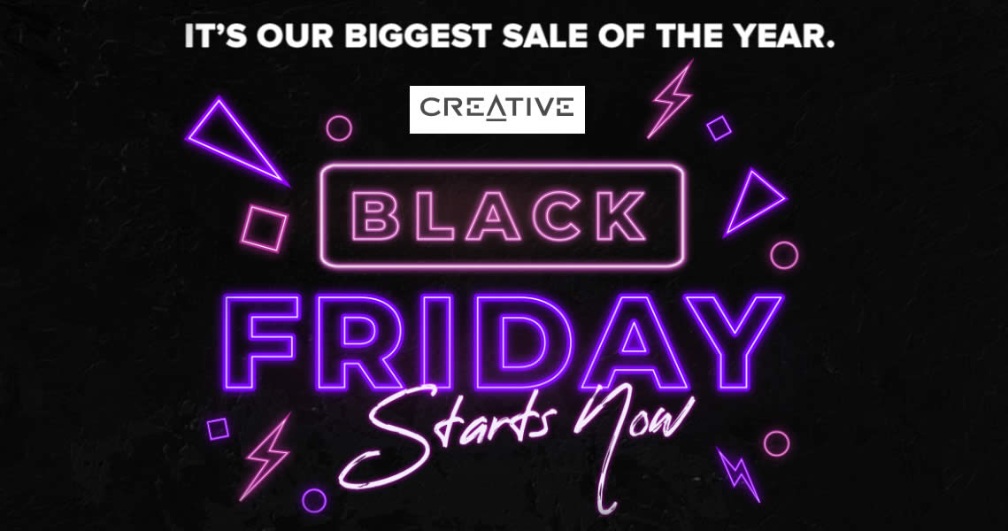 Featured image for (Updated!) Creative's Black Friday Promotion offers savings of up to 75% off from 27 Nov 2020