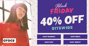 Crocs: 40% OFF sitewide online sale + Free shipping on orders over $60 Black Friday promo till 29 Nov 2020