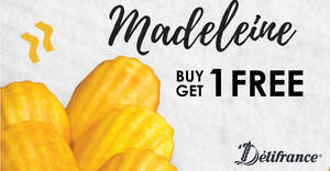Delifrance: Enjoy 1 for 1 Madeleine at all retail outlets from 26 – 29 Nov 2020