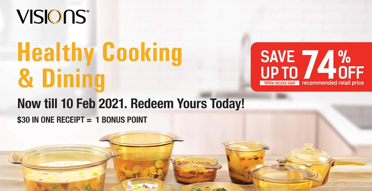 Featured image for Fairprice: Spend and redeem exclusive Visions Cookware and Dinnerware till 10 Feb 2021