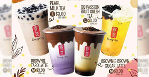 Gong Cha: $3 drinks including Pearl Milk Tea (L) & more at Singpost Centre till 1 Dec 2020