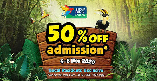Featured image for Jurong Bird Park: Enjoy 50% off admission tickets for visits till 31 Dec when you buy your tickets by 8 Nov 2020