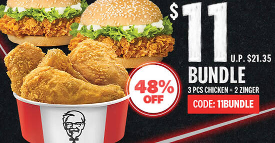 Featured image for KFC Delivery: $11 (Usual $21.35) for 3pcs Chicken + 2 Zinger Bundle till 11 November 2020