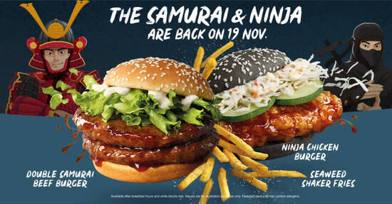 Featured image for McDonald's S'pore brings back Samurai burgers along with Ninja Chicken Burger, Seaweed Shaker Fries & More (From 19 Nov)