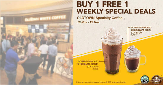 Featured image for OLDTOWN White Coffee: 1-for-1 Double Enriched Chocolate (Hot/Cold) till 22 Nov 2020