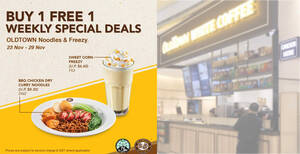 OLDTOWN White Coffee: 1-for-1 BBQ Chicken Dry Curry Noodles & Sweet Corn Freezy till 29 Nov 2020