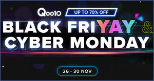 Qoo10: Black Friday – grab $10, $30 & $100 cart coupons daily till 29 Nov 2020