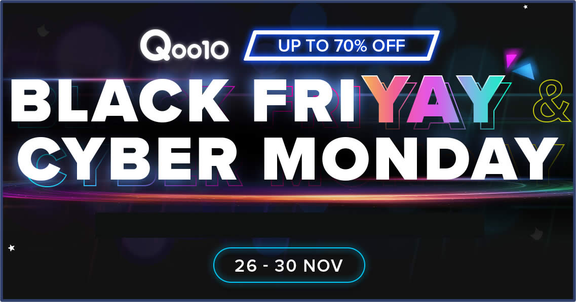 Featured image for Qoo10: Black Friday - grab $10, $30 & $100 cart coupons daily till 29 Nov 2020