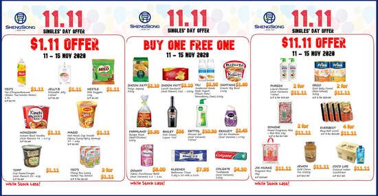 Featured image for Sheng Siong: 1-for-1, $1.10 and $11 deals Singles Day offers till 15 Nov 2020