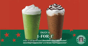 Starbucks: Enjoy a 1-for-1 treat on selected beverages from 23 – 26 Nov when you pay with your Starbucks Card
