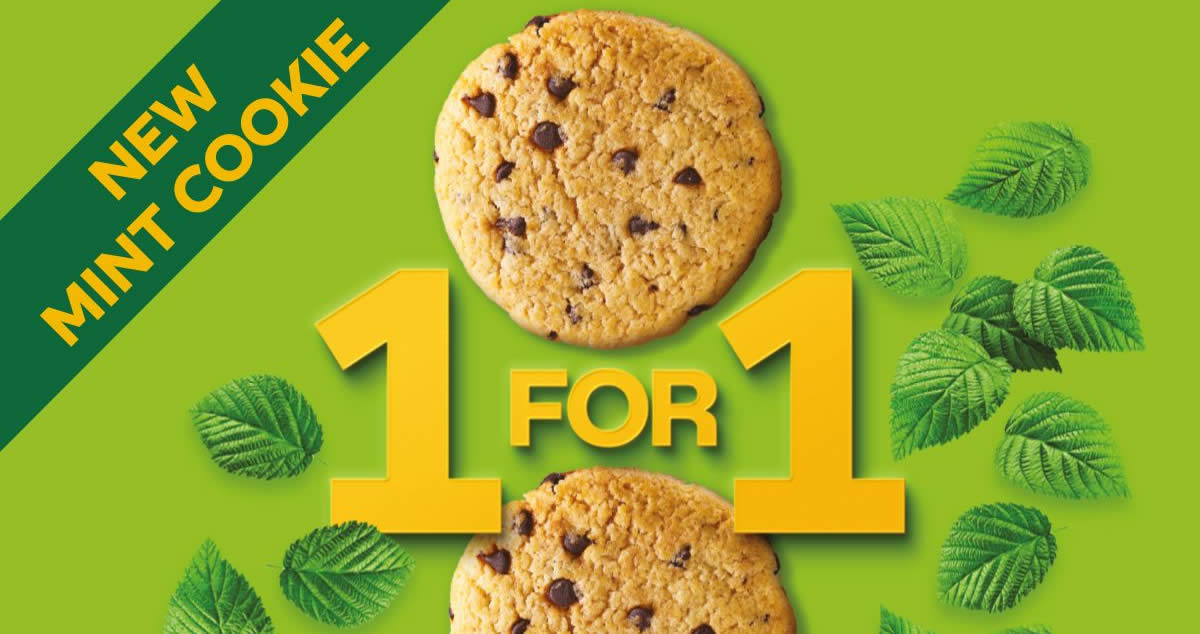 Featured image for Subway: 1-For-1 Mint Chocolate Chip Cookie 11.11 promo on 11 Nov 2020