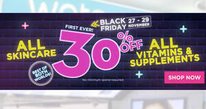 Watsons: Get 30% off all skincare, vitamins & supplements Black Friday offer till 29 Nov 2020