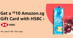 Featured image for Amazon.sg: Get a S$10 Amazon.sg Gift Card when you spend S$100 or more using HSBC cards till 12 Dec 2020