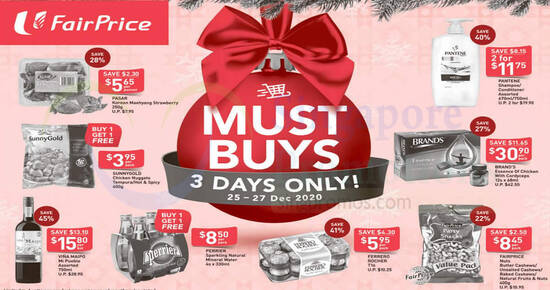 Featured image for Fairprice 3-day deals from 25 - 27 Dec: 41% off Ferrero Rocher T16, 40% off Pantene & More