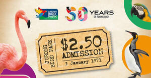 Featured image for $2.50 Jurong Bird Park Admission for local residents from 28 Dec – 31 Jan for visits in Jan 2021