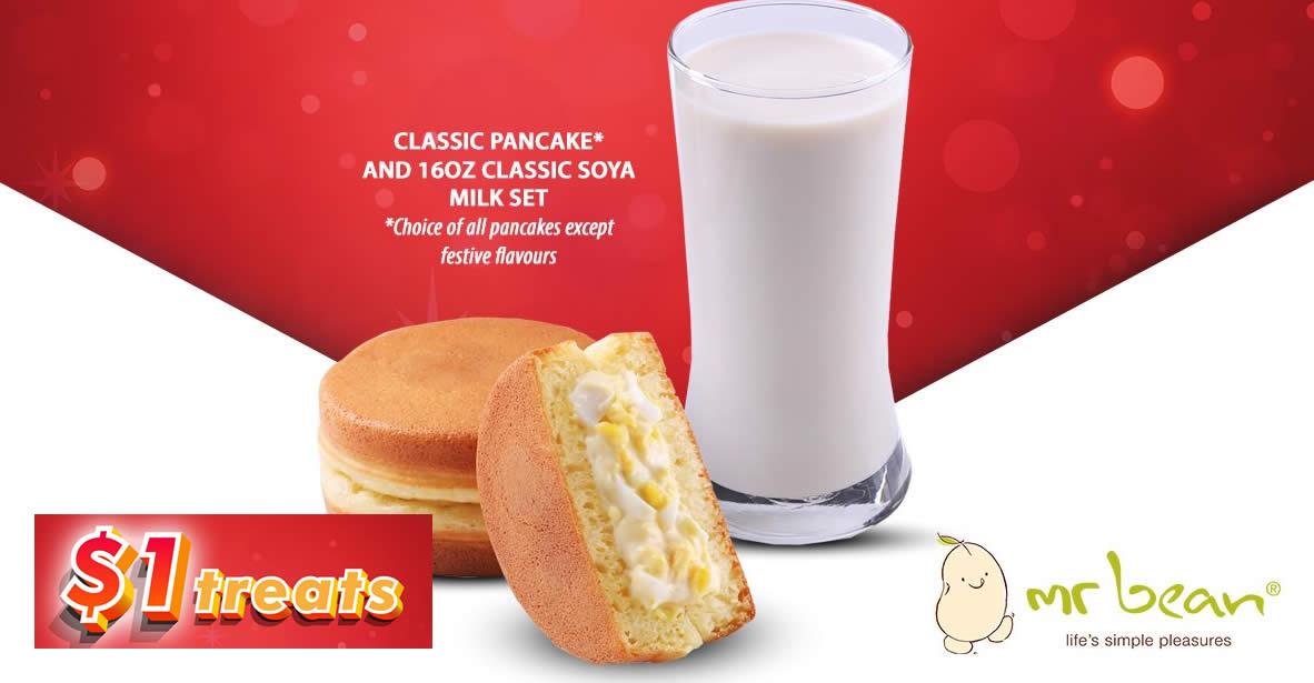 Featured image for $1 Mr Bean Classic Pancake + 16oz Classic Soya Milk set for SAFRA members till 31 Jan 2021