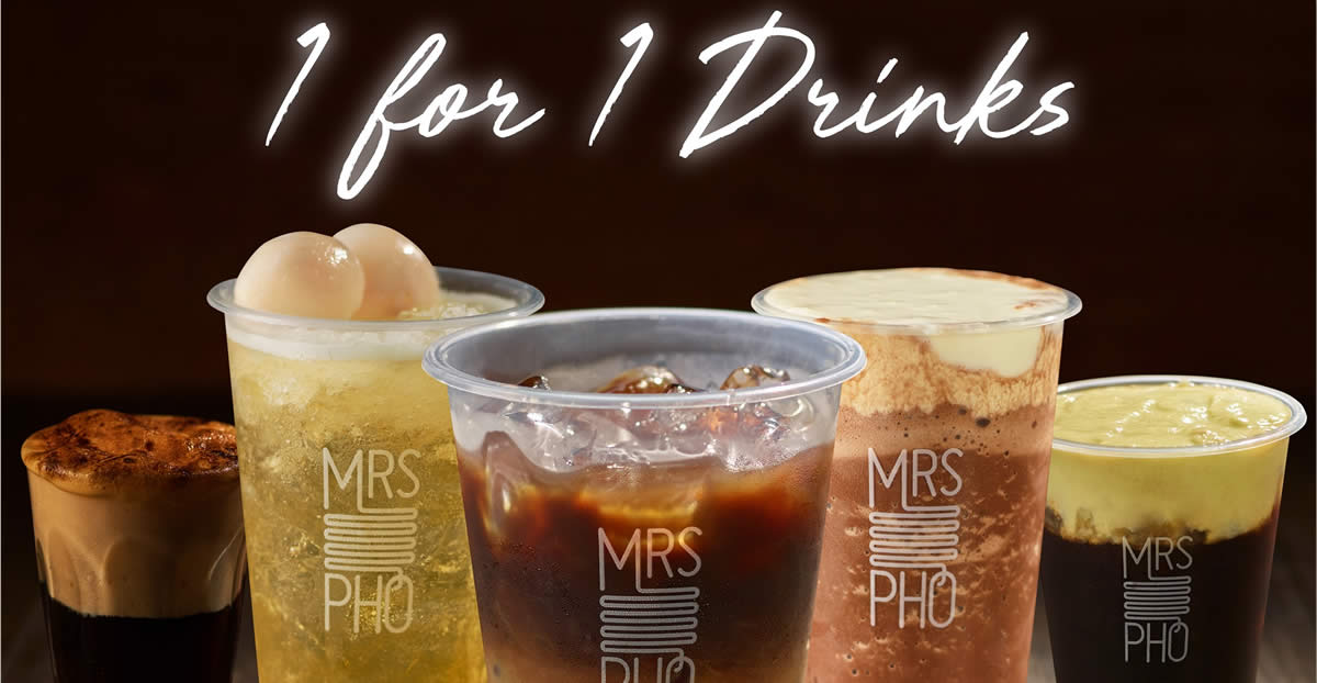 Featured image for Mrs Pho Café: 1 for 1 promotion on almost its entire range of drinks at VivoCity from 5 - 9 Dec 2020