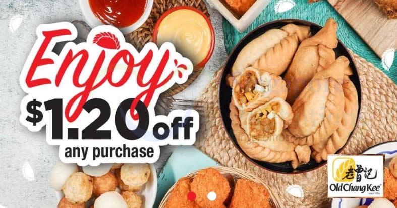 Featured image for Old Chang Kee: Enjoy $1.20 off your purchase at all outlets island-wide till 16 Jan 2021