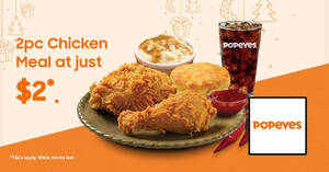 Featured image for Popeyes: $2 2pcs fried chicken meal for Samsung Members till 15 February 2021