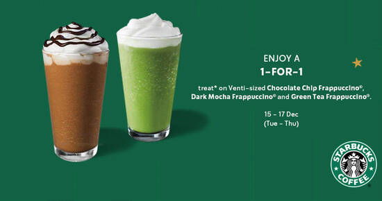 Featured image for Starbucks: Enjoy a 1-for-1 treat on selected beverages from 15 - 17 Dec when you pay with your Starbucks Card