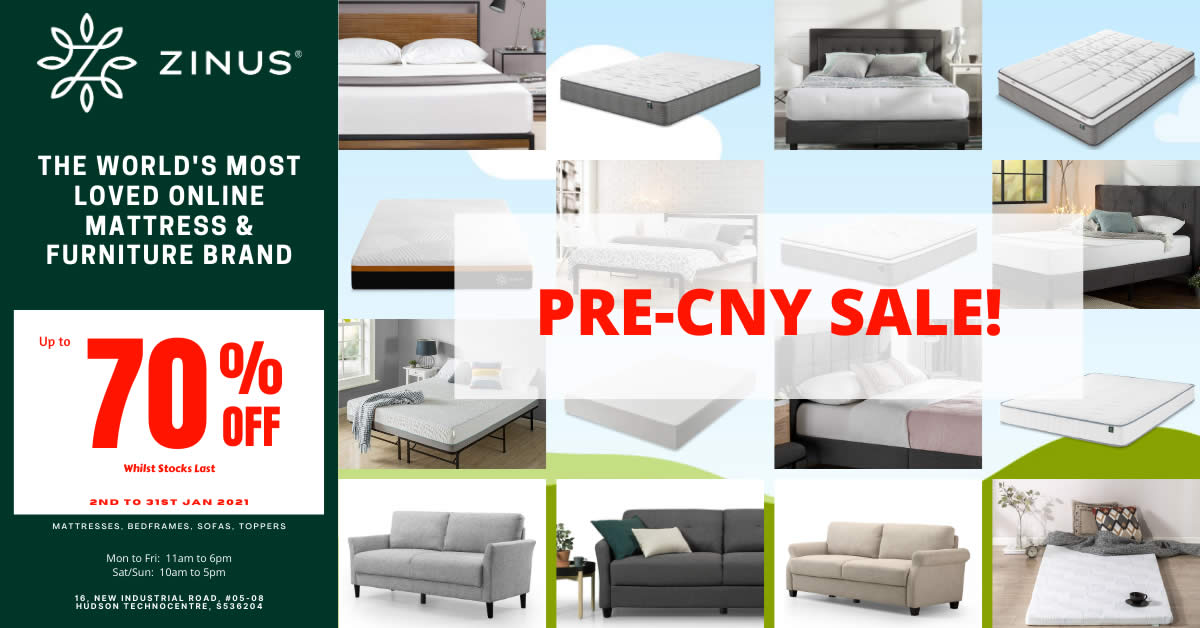 Featured image for Zinus Pre-CNY Sale - Massive Savings! Mattress from $99! (2 - 31 Jan 2021)
