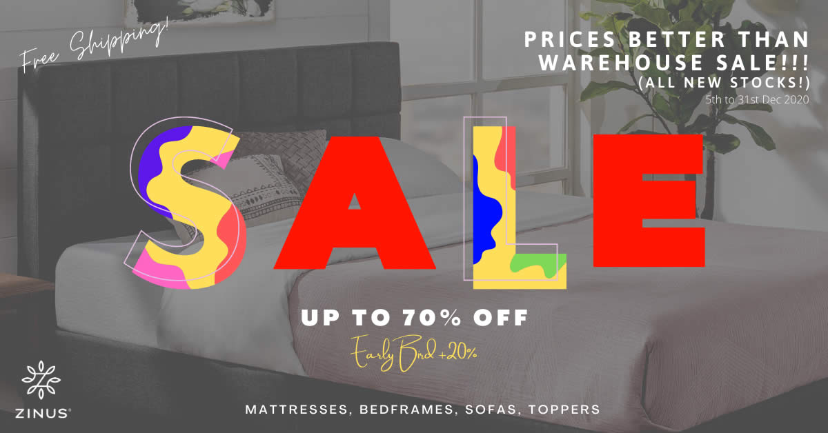 Featured image for Zinus: Better price than warehouse sale! Mattress from only $109! From 5 - 31 Dec 2020